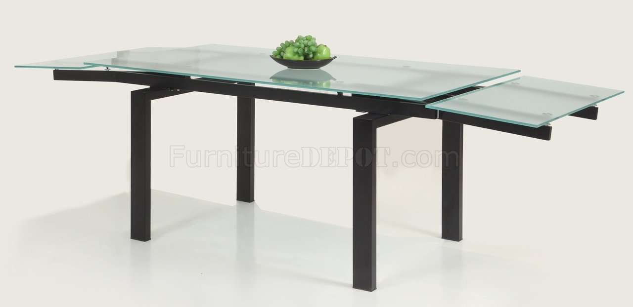 Glass table extendable top modern dining table w optional for Extendable glass dining table
