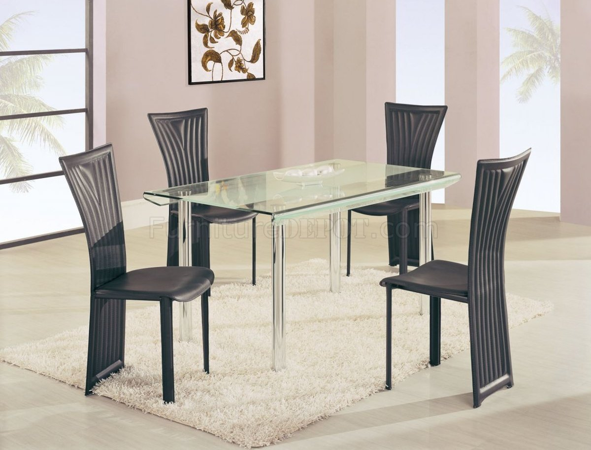 DA818 Dining Set 5Pc W Black Chairs By Global Furniture USA