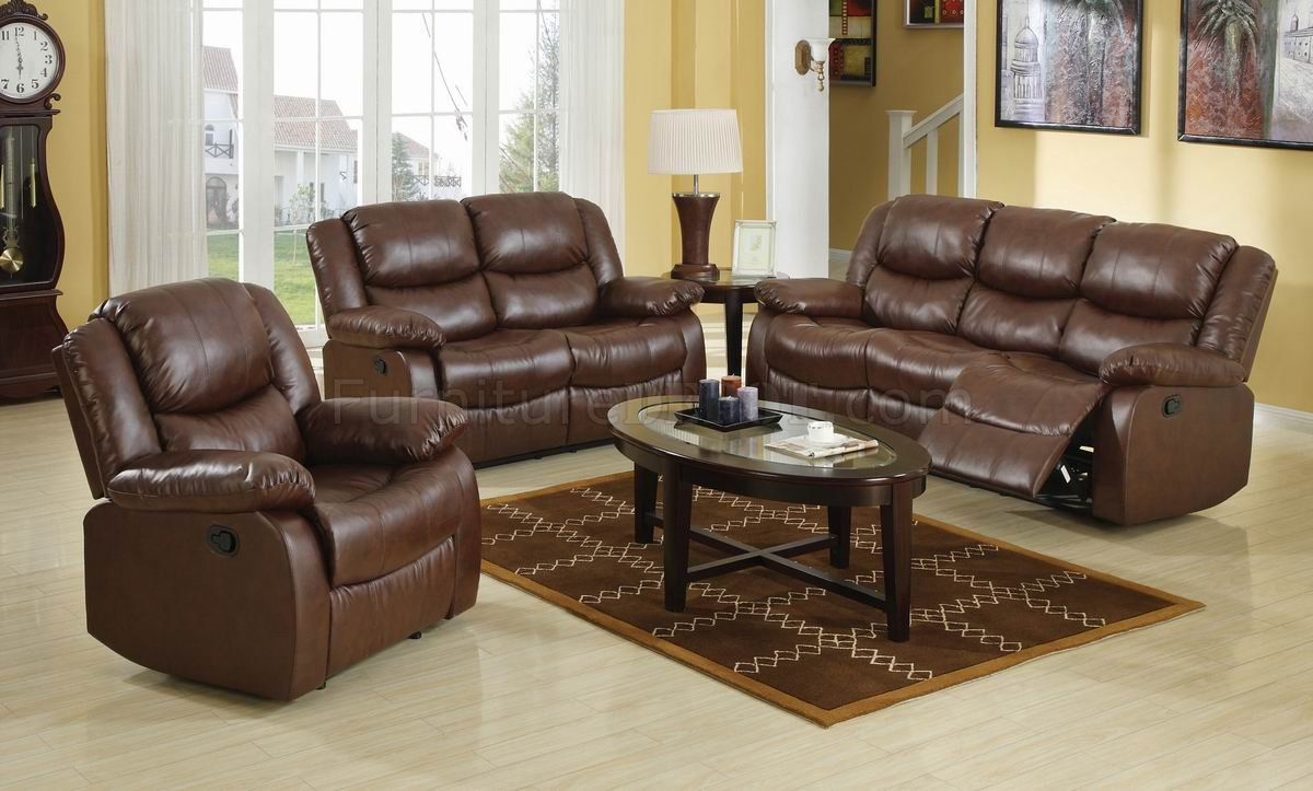 Brown Bonded Leather Match Modern Reclining Sofa Loveseat Set