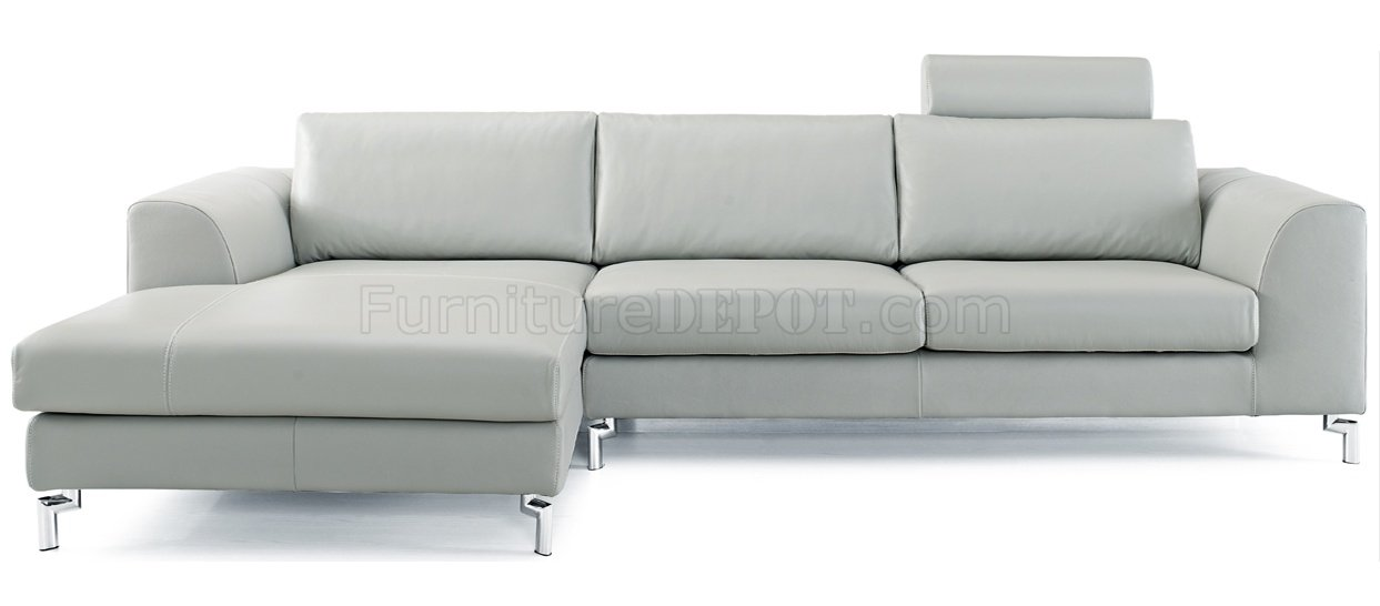 angela sectional sofa in gray leather by whiteline. Black Bedroom Furniture Sets. Home Design Ideas