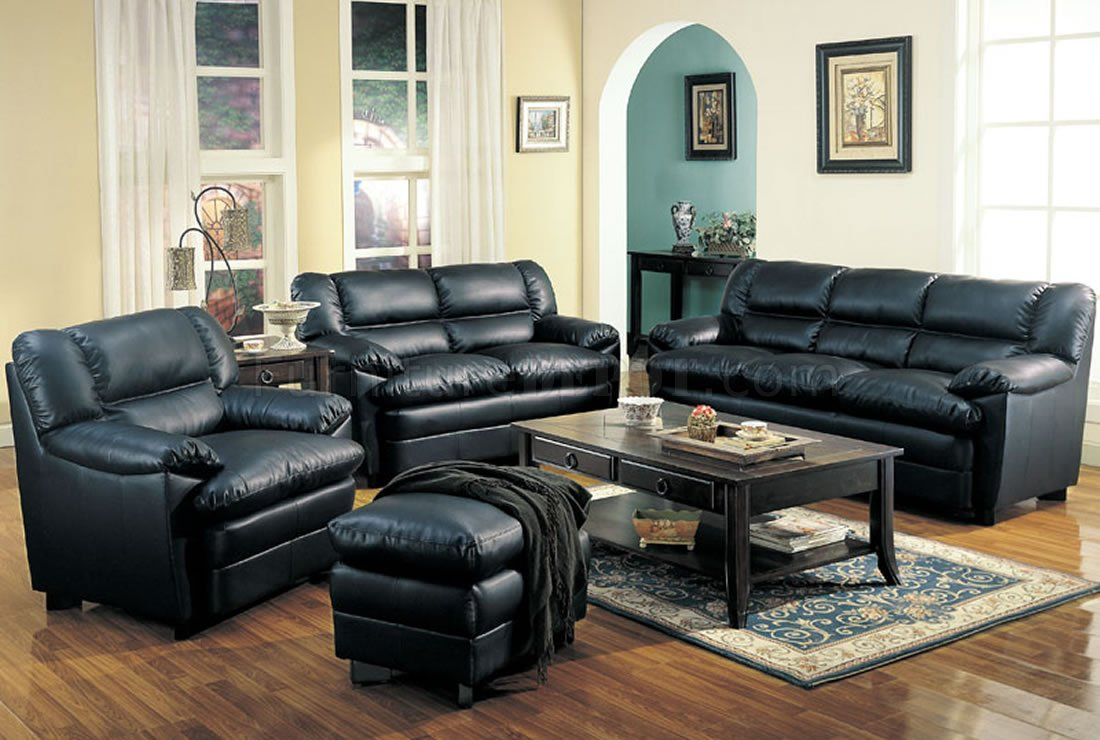 Black Bonded Leather Contemporary Sofa W Pillow Top Seating