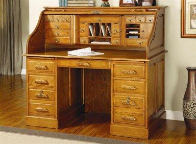 Oak Finish Elegant Deluxe Roll Top Desk