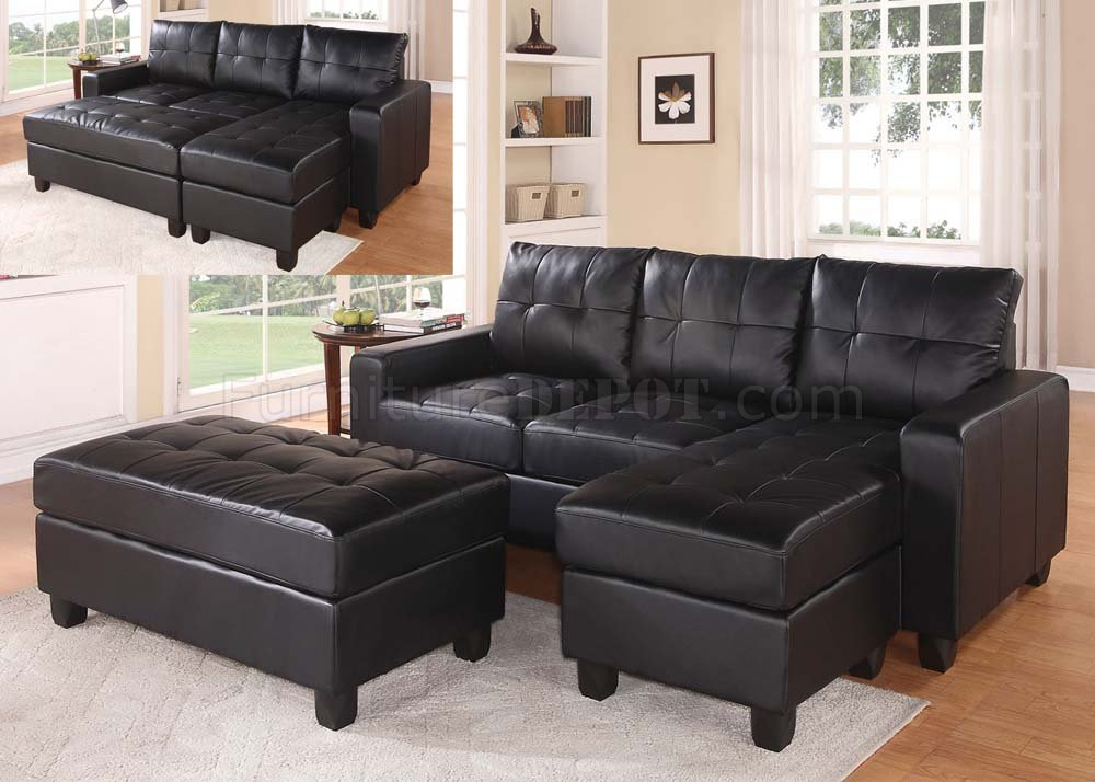 Lyssa Sectional Sofa & Ottoman Bonded Leather Match Acme