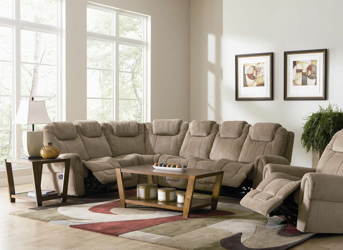 Tan Fabric Modern Motion Sectional Sofa W Optional Recliner
