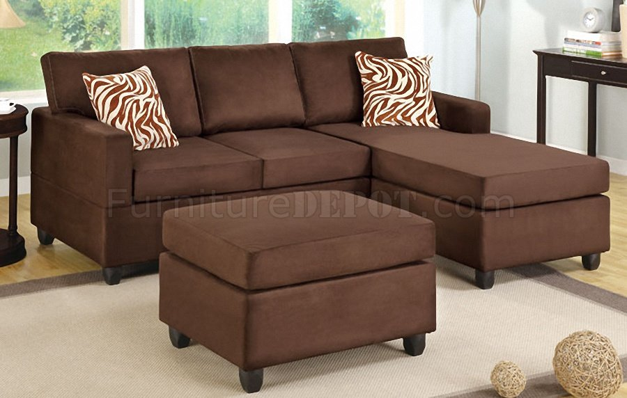 F7661 small sectional sofa in chocolate microfiber by poundex Brown microfiber couch and loveseat