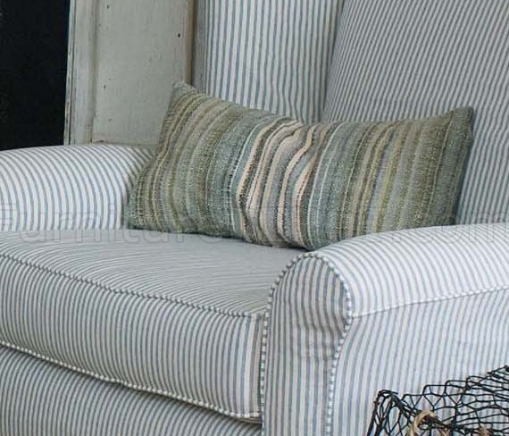 Blue & White Striped Fabric Classic Sofa & Oversize Chair