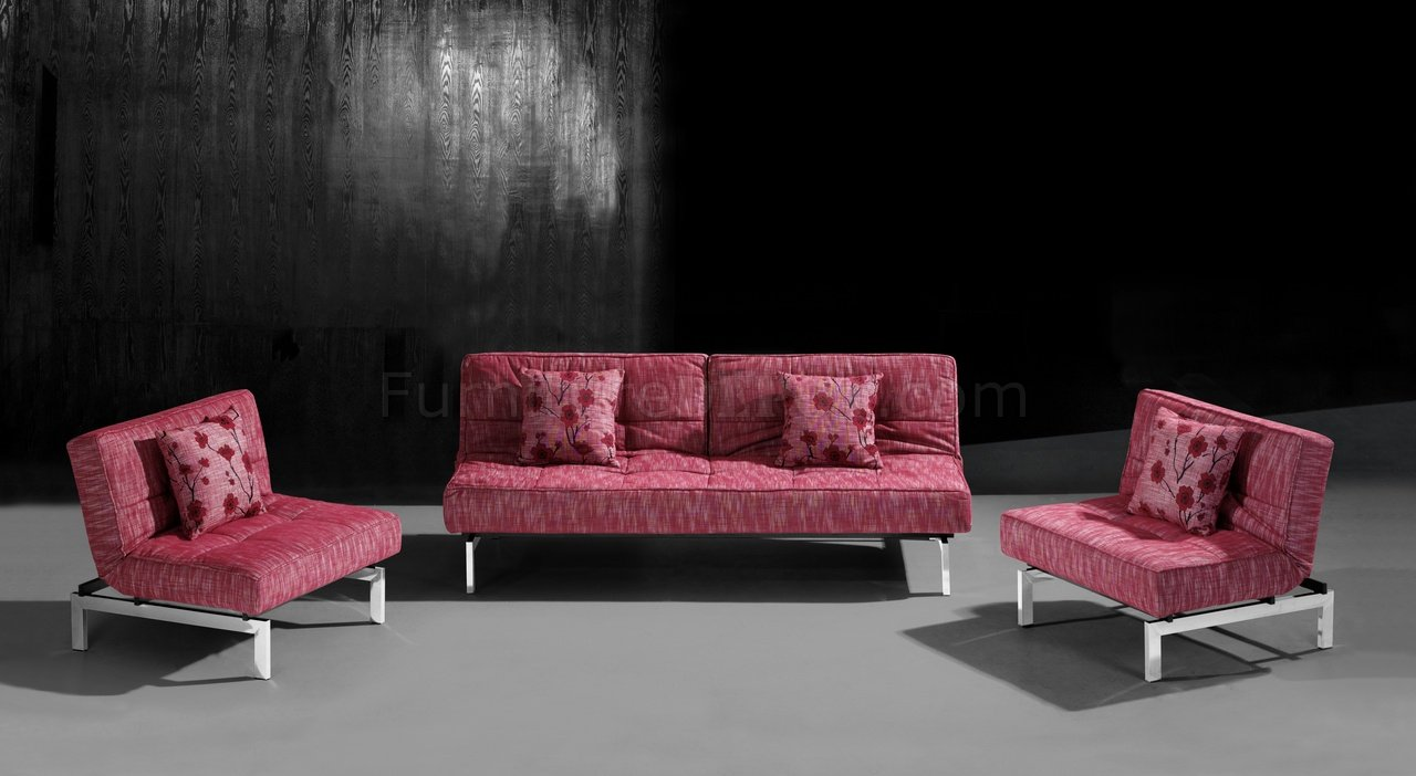 Red Microfiber Convertible Sleeper Sofa With Split Back