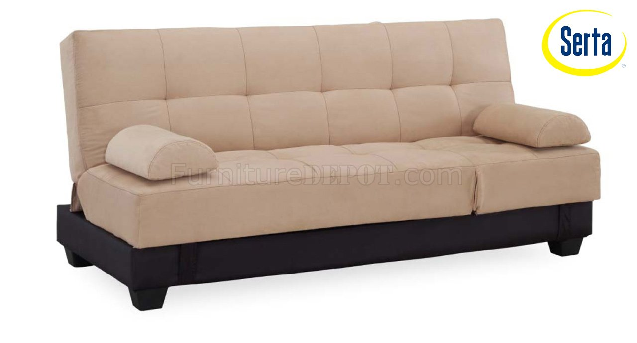 Khaki Fabric Modern Convertible Sofa Bed W Storage