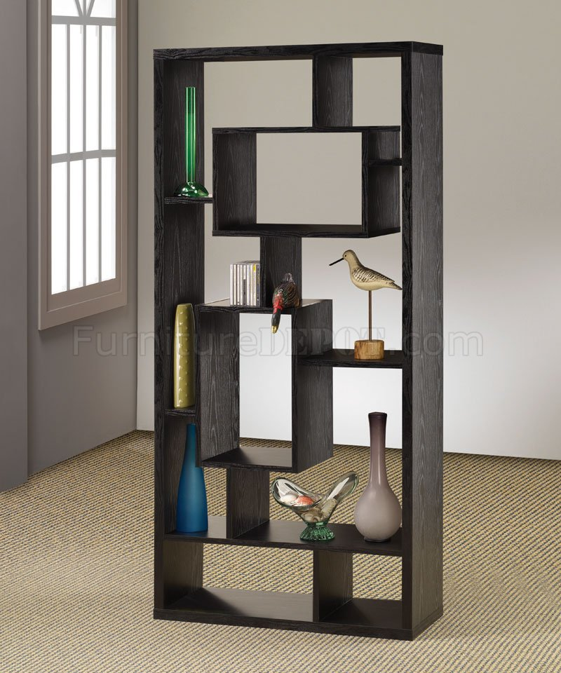 Black finish modern bookcase w shelves display space for Room divider storage