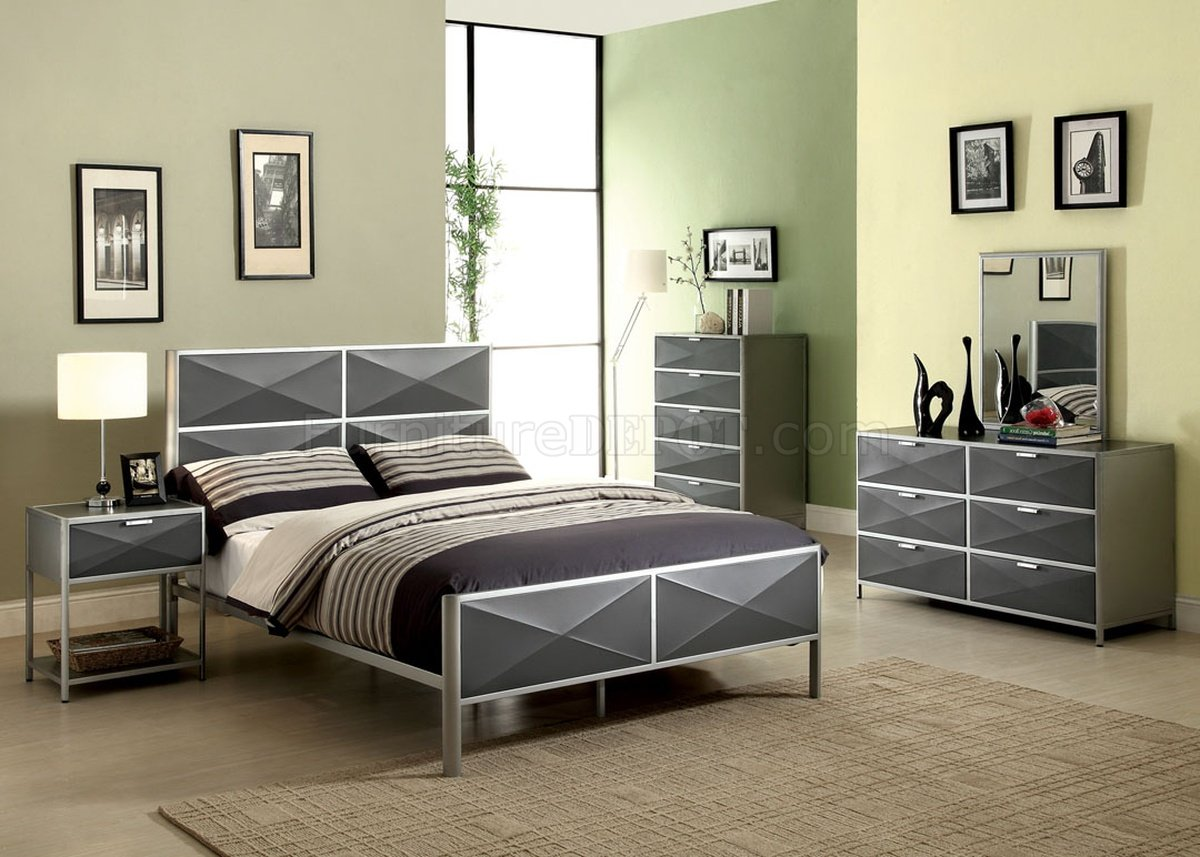 Largo Bedroom Furniture Cm7163 Largo Youth Bedroom In Silver Tone Dark Gray W Options
