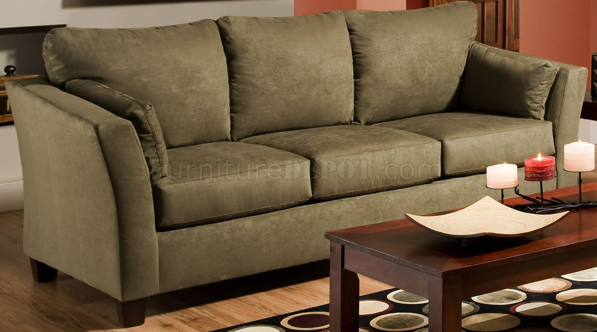 Olive Microfiber Modern Casual Sofa Amp Loveseat Set W