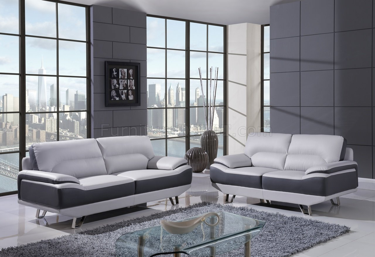 U7330 Sofa In Light Dark Grey Bonded Leather By Global