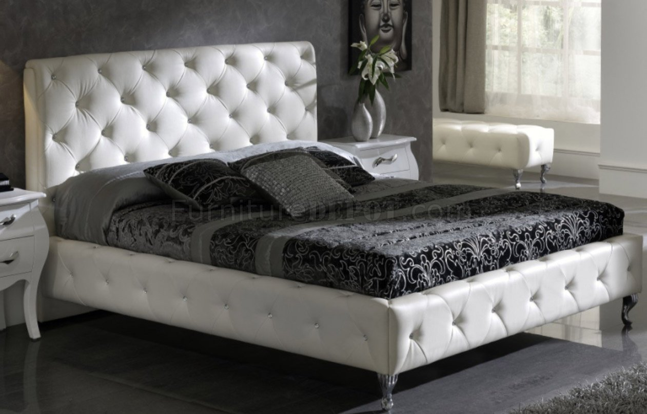 White nelly bed by esf w modern tufted leather headboard Small leather couch for bedroom