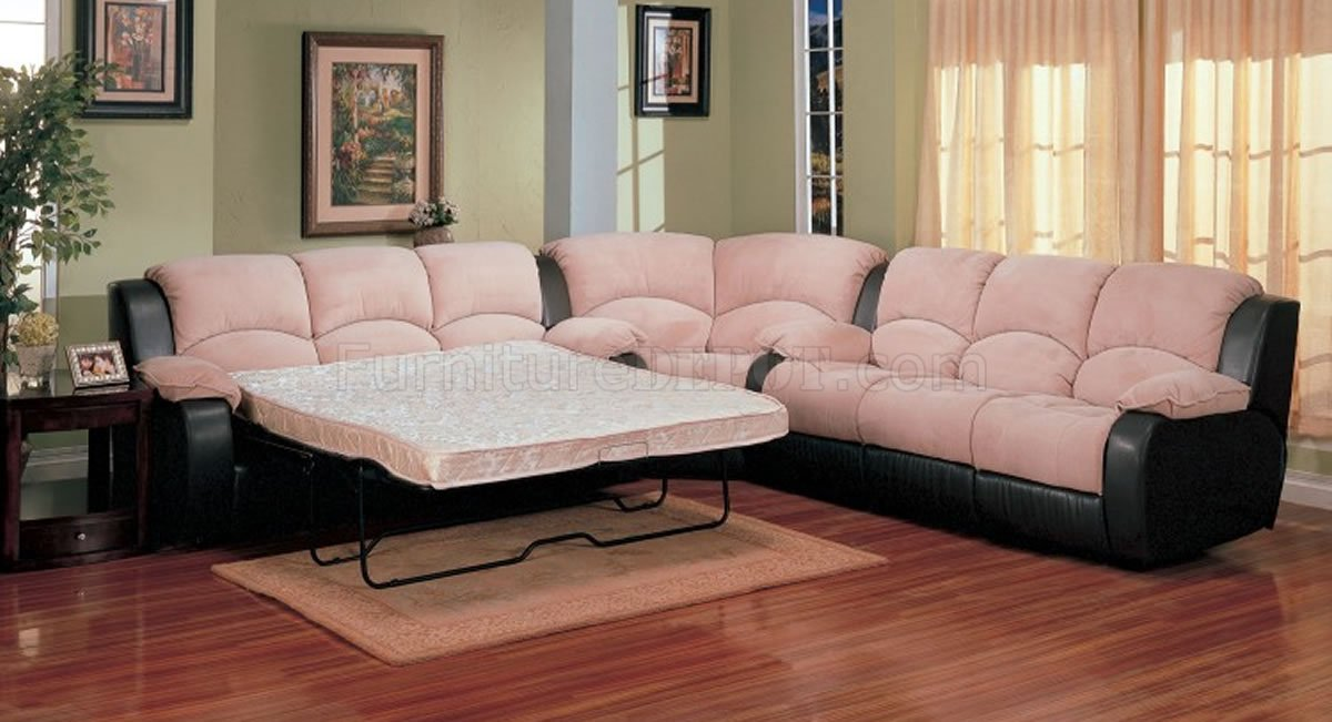 Two tone suede soft microfiber modern sectional sofa w sleeper for Suede sectional