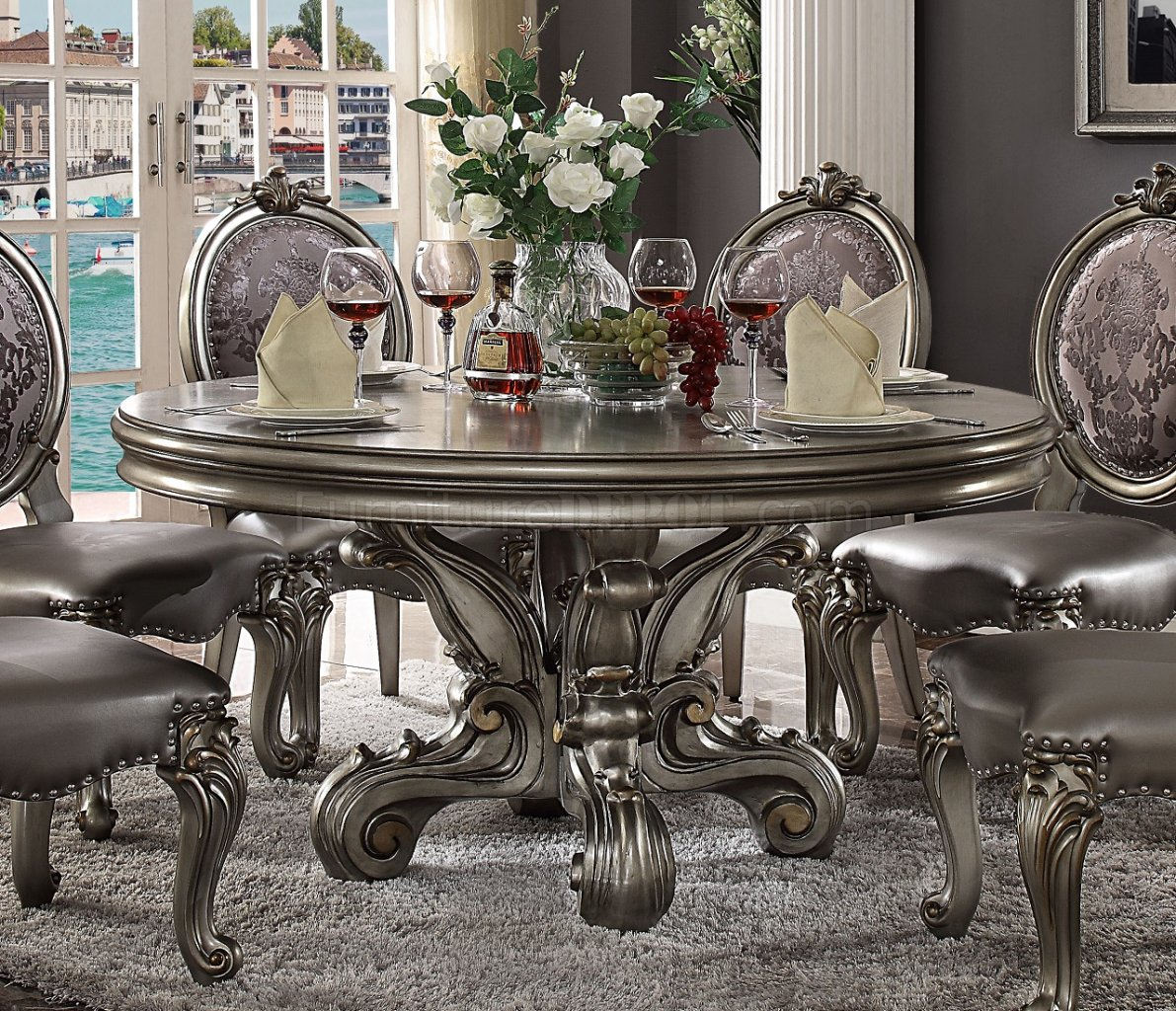 Versailles Dining Round Table 66840 In Antique Platinum By