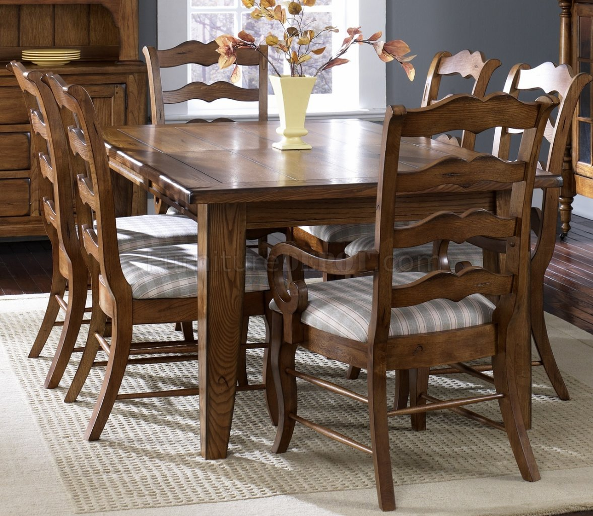 Rustic Oak Finish Formal Dining Table W Options LFDS 17 DR C1070