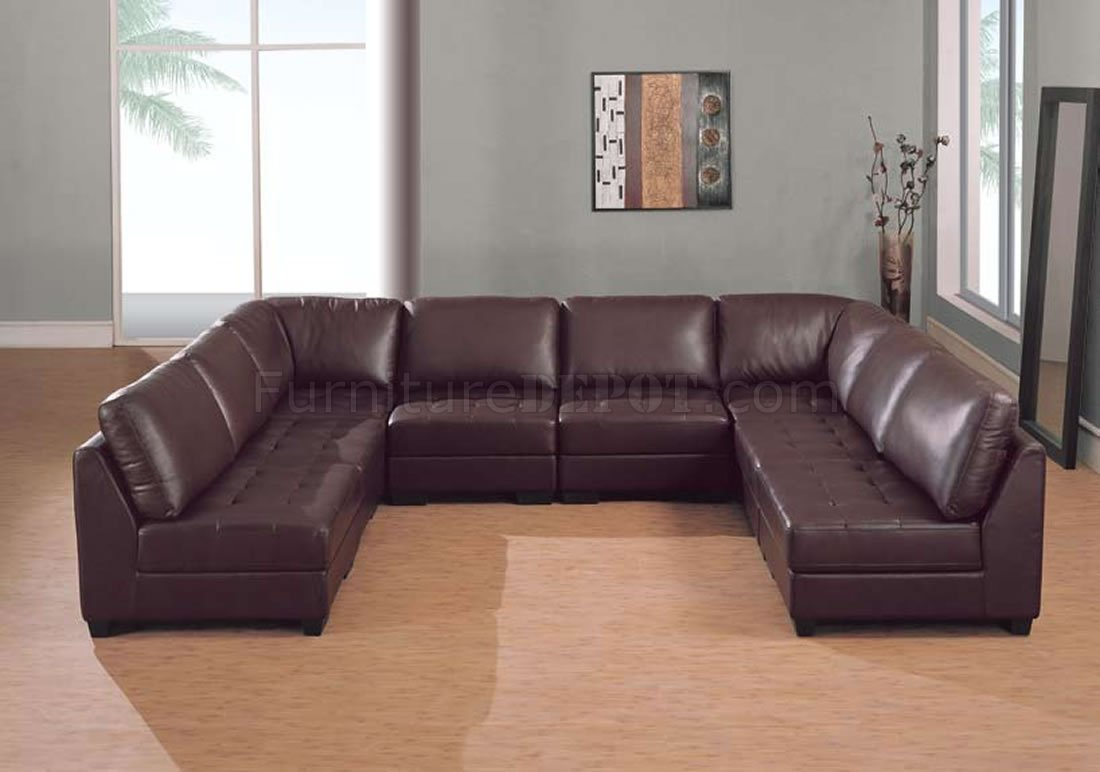 Brown Leather 8 Pc Modern Sectional Sofa W/Tufted Seats
