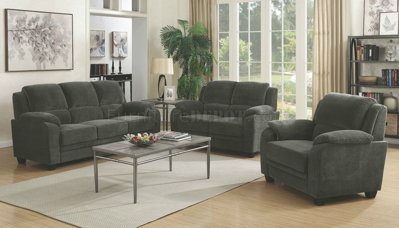 Northend Sofa Amp Loveseat 506241 In Charcoal Fabric By Coaster