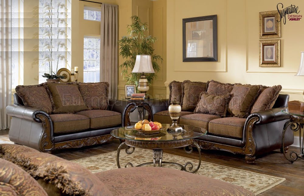 Walnut Fabric And Faux Leather Sofa & Loveseat Set By Ashley