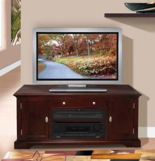 Dark Cherry Finish Contemporary Tv Stand With Storage Cabinets