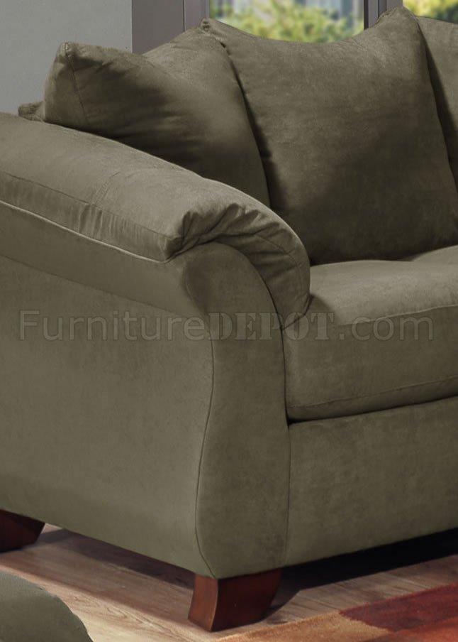 Olive Microfiber Modern Sofa Loveseat