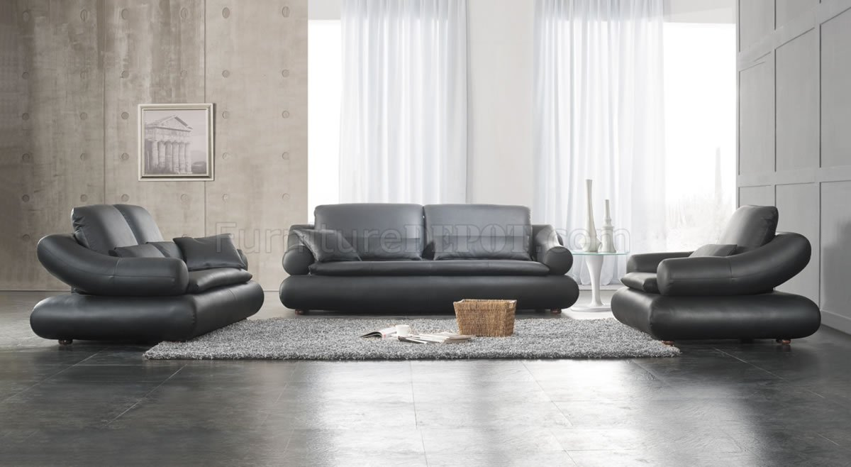 black leather upholstered stylish living room set
