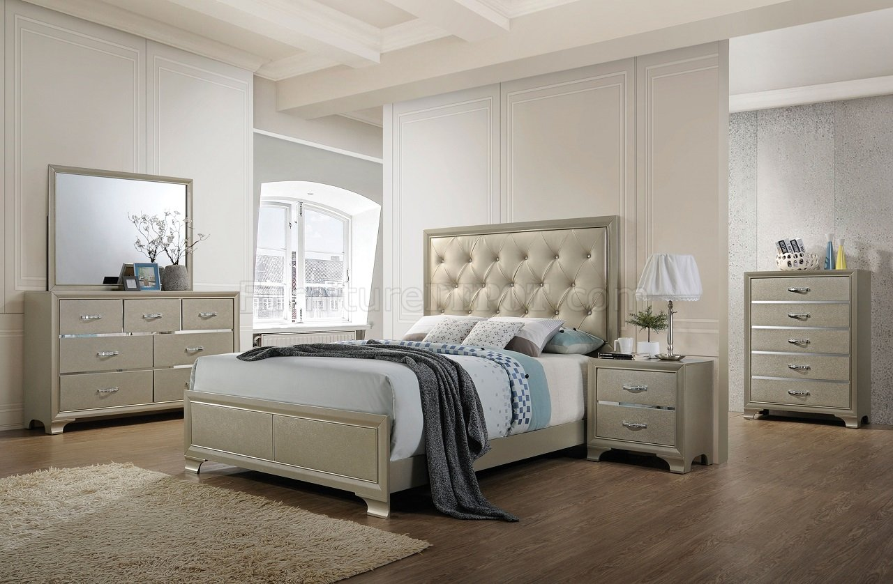 Carine 5Pc Bedroom Set 26240 In Champagne Finish By Acme