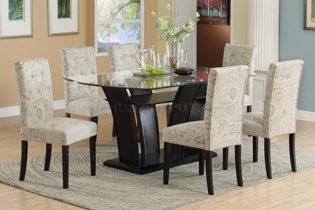 Modern formal dining room sets - F2153 Dining Set 5pc In Dark Brown By Poundex W F1093 Chairs
