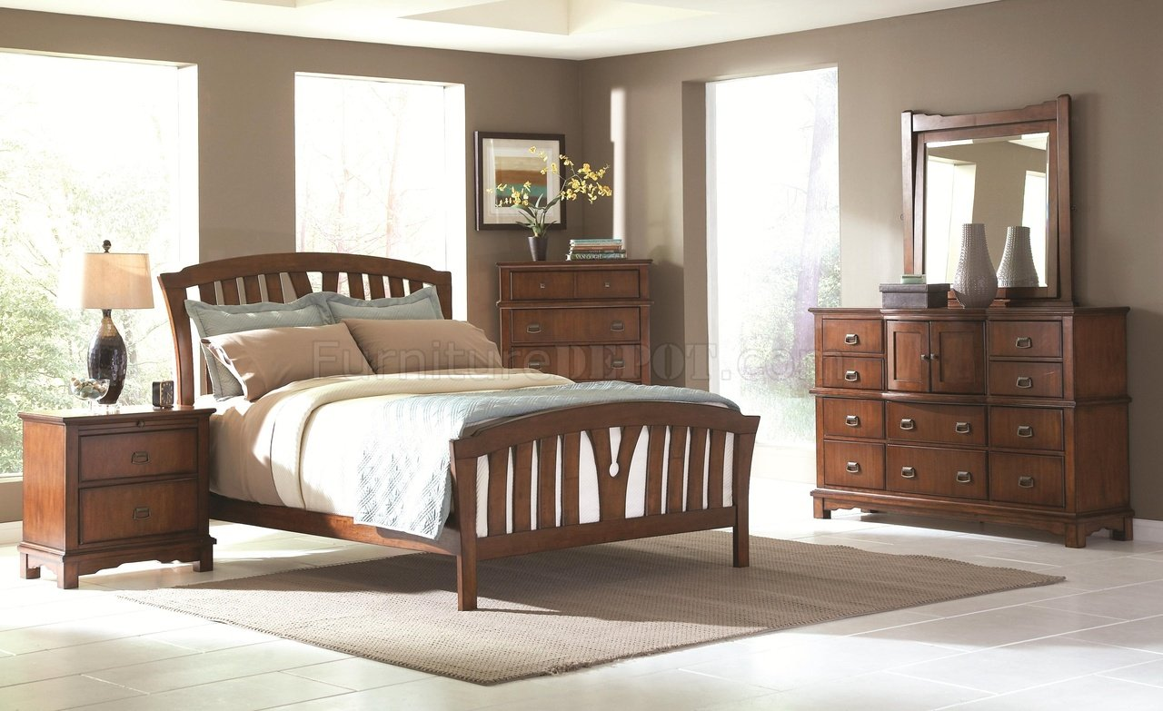 Medium Oak Finish Transitional Bedroom W Optional Casegoods