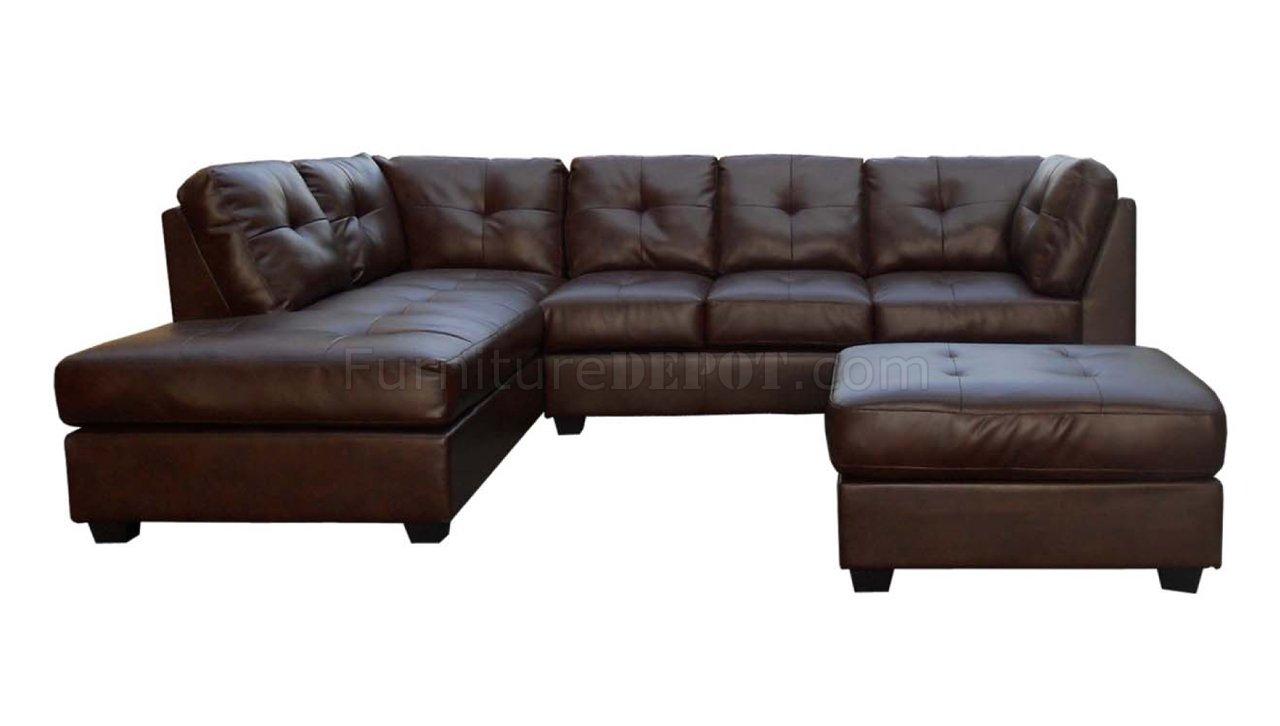 Medium Brown Sauvage Bonded Leather Modern Sectional Sofa