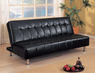 Futon Living Room Sets on Black Vinyl Contemporary Elegant Futon Sofa Bed W Metal Legs At