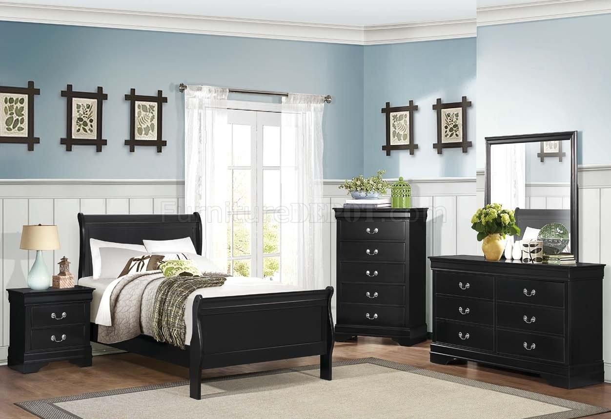 Mayville 2147bk 4pc Youth Bedroom Set In Black By Homelegance