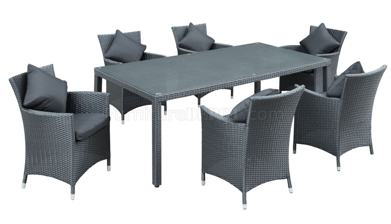 Panorama 7Pc Outdoor Patio Dining Set in Black by Modway