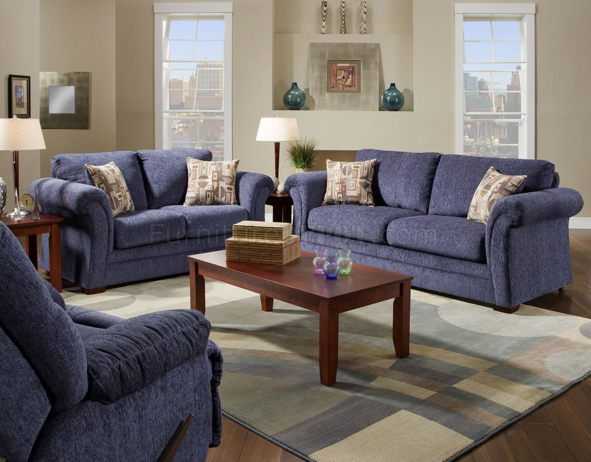 Plush Blue Fabric Casual Modern Living Room Sofa Loveseat Set