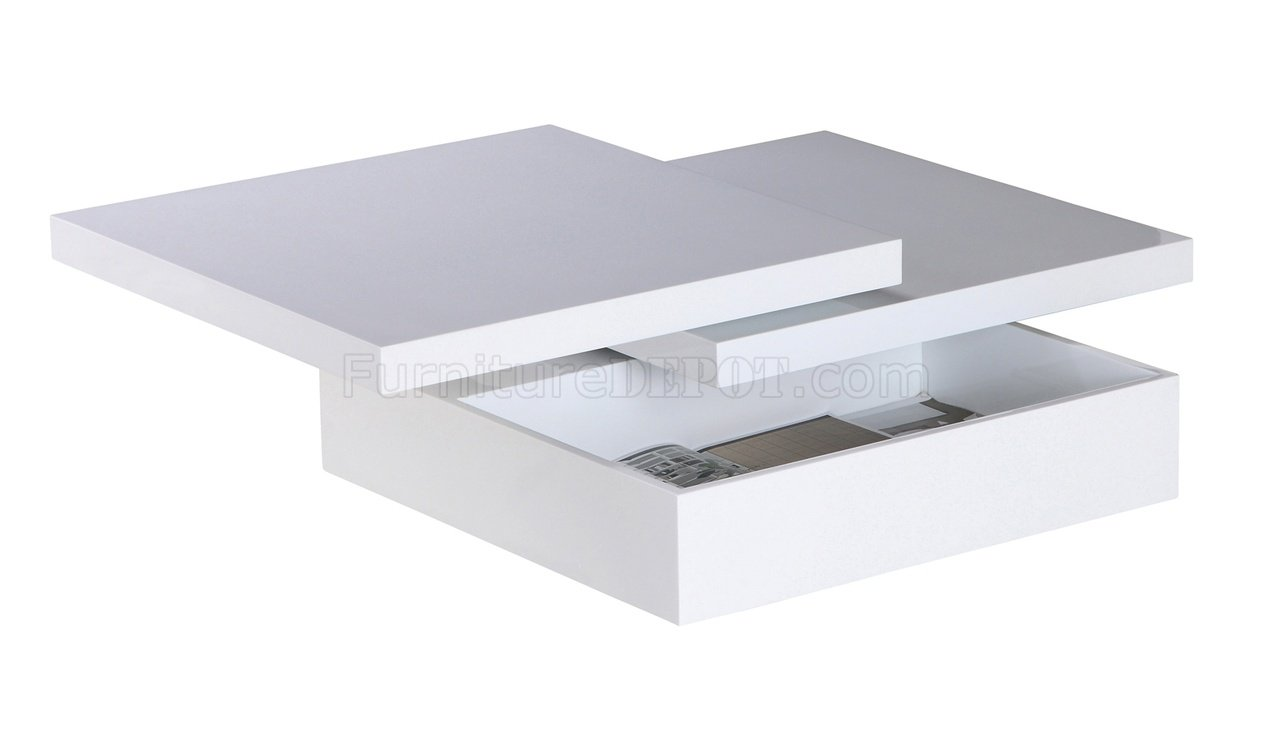 Mellow Square Motion White Coffee Table W Storage By Whiteline