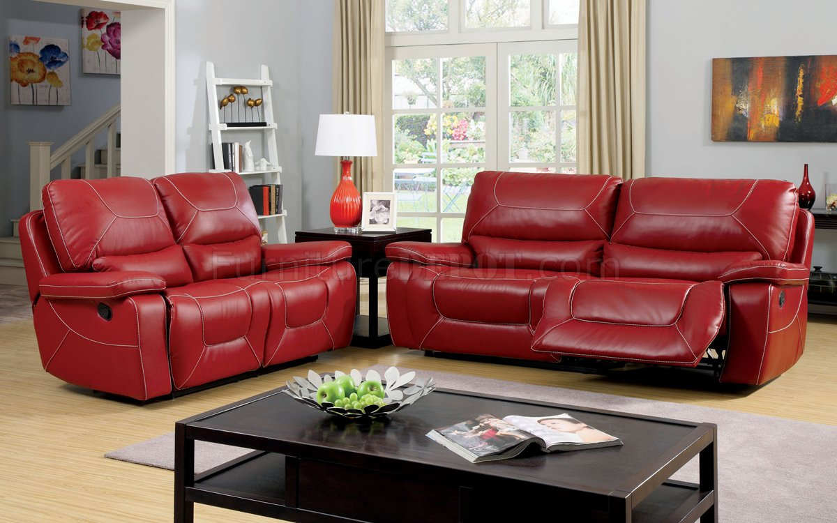 Newburg reclining sofa cm6814rd in red leather match w options Red sofas and loveseats