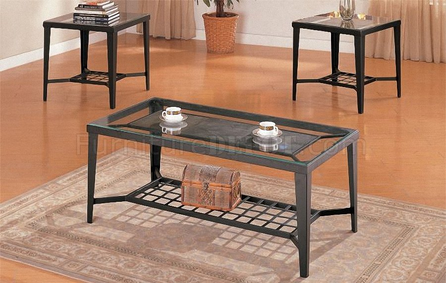 Black Metal Frame Modern Artistic 3PC Coffee Table Set PXCT F3086