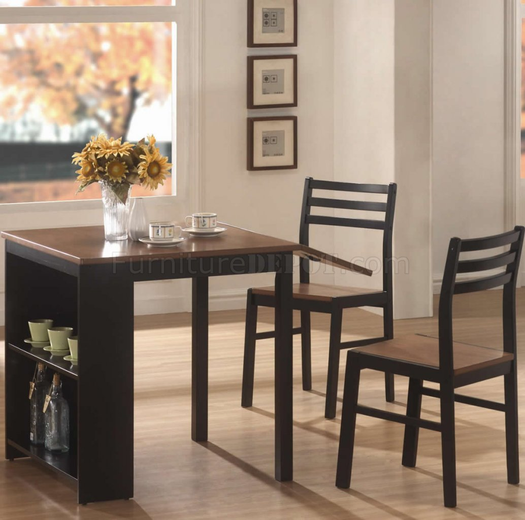 Two Tone Finish Modern 3pc Dining Set W Fold Out Table Top