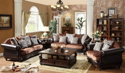 Chocolate Velvet And Vinyl Classic Sofa Loveseat Set W Options