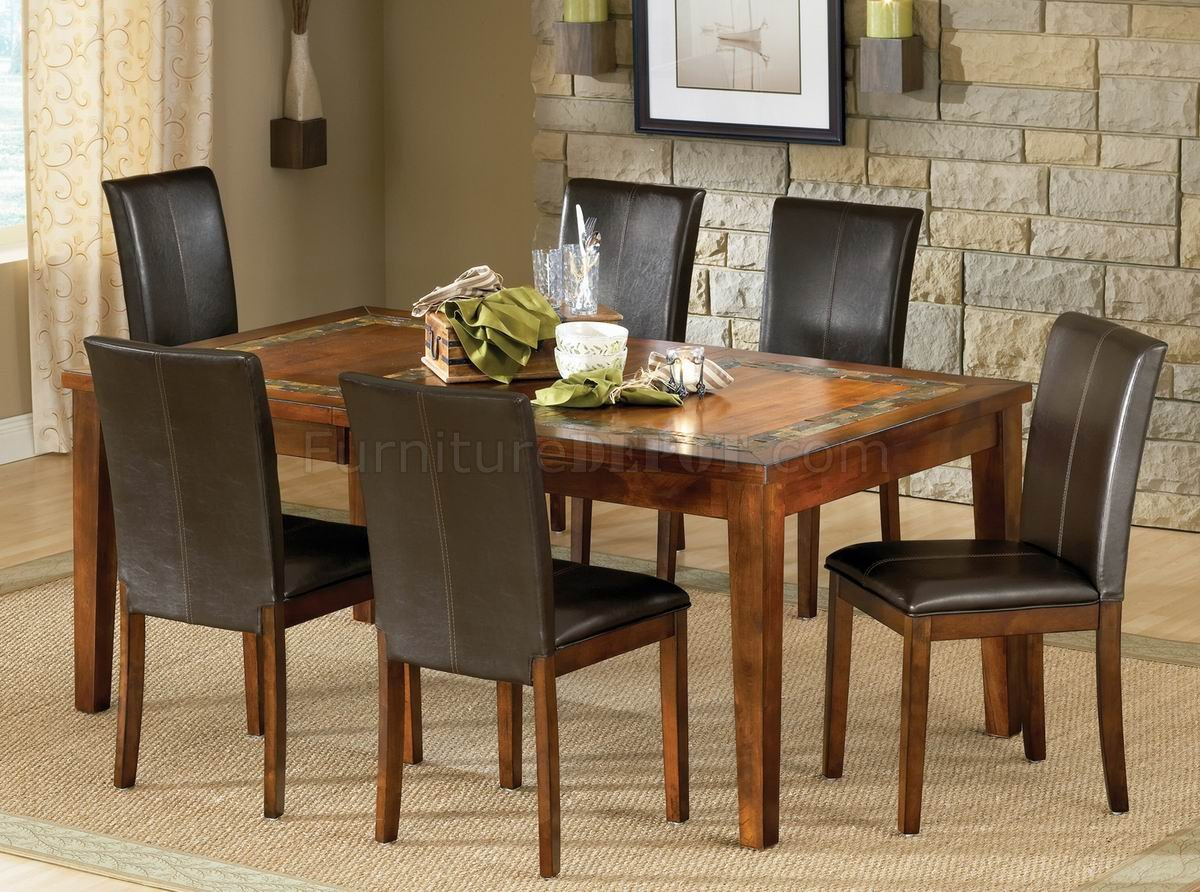 Brown Finish Modern Dining Table W/Optional Side Chairs