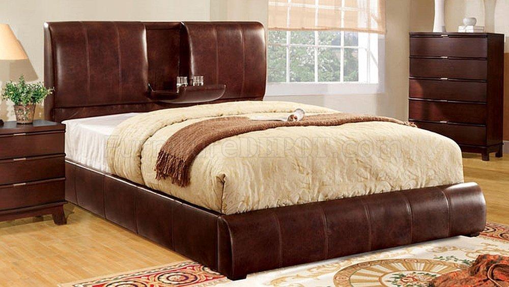 Cm7027br Webster Platform Bed Brown Padded Leather Like Fabric