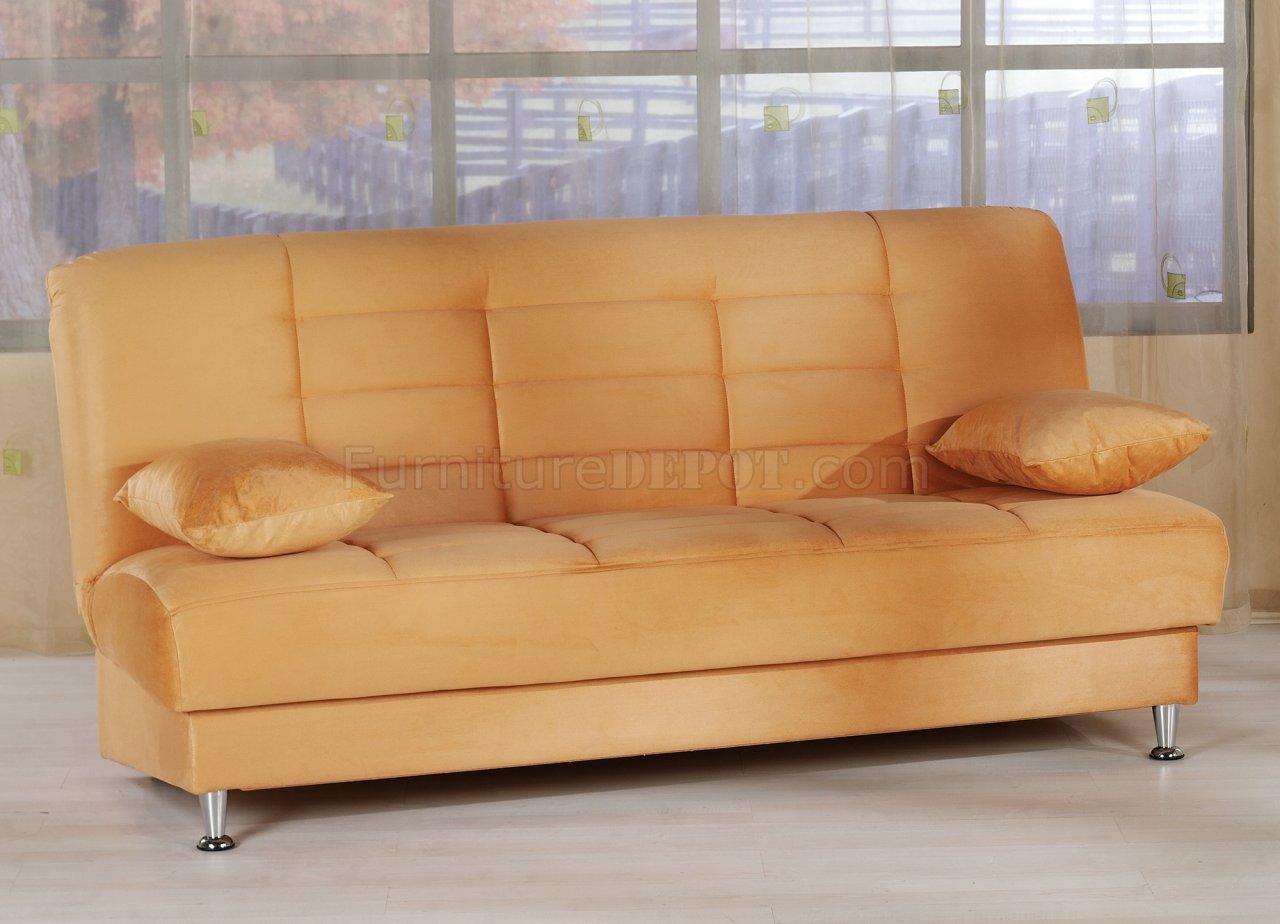 Orange Microfiber Sofa Carol Orange Microfiber Sectional