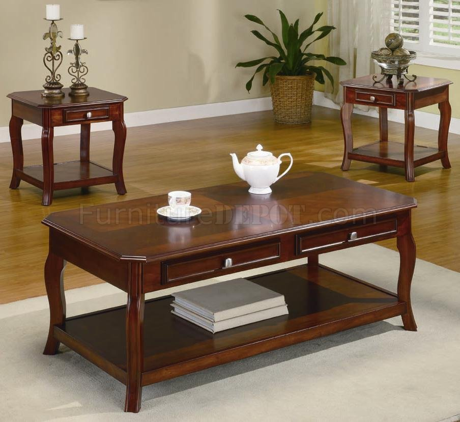 Warm Brown Cherry Finish Traditional 3pc Coffee Table Set