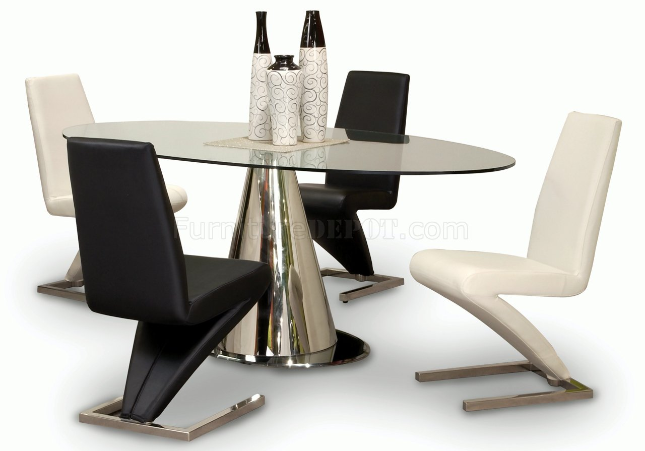 Oval Tempered Glass Top Modern Dining Table W/Optional Chairs