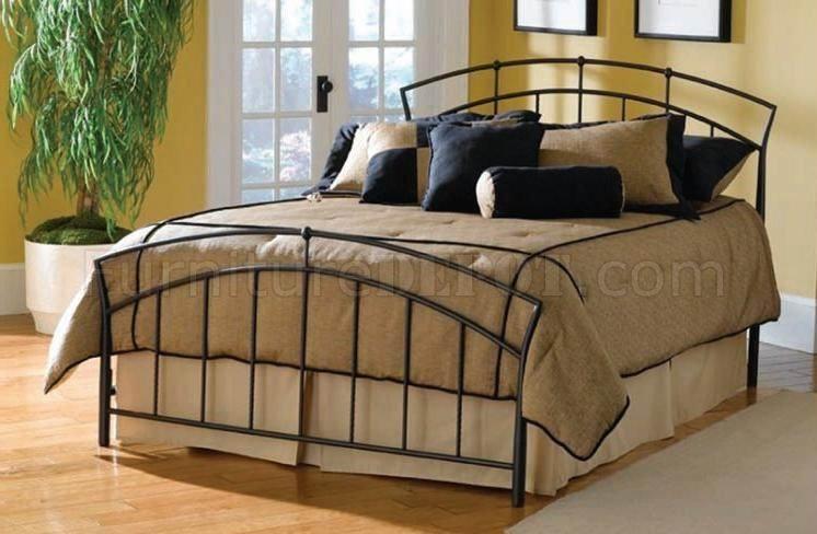 Modern Metal Bed Frames modern dark metal bed w/wood sprung bed frame