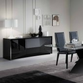 Sapphire Dining Table in Black by Rossetto w/Optional Items