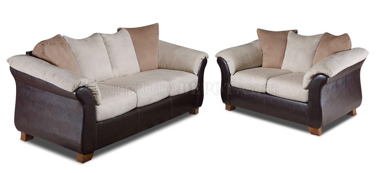 Combo Microfiber Sofa Loveseat Set W