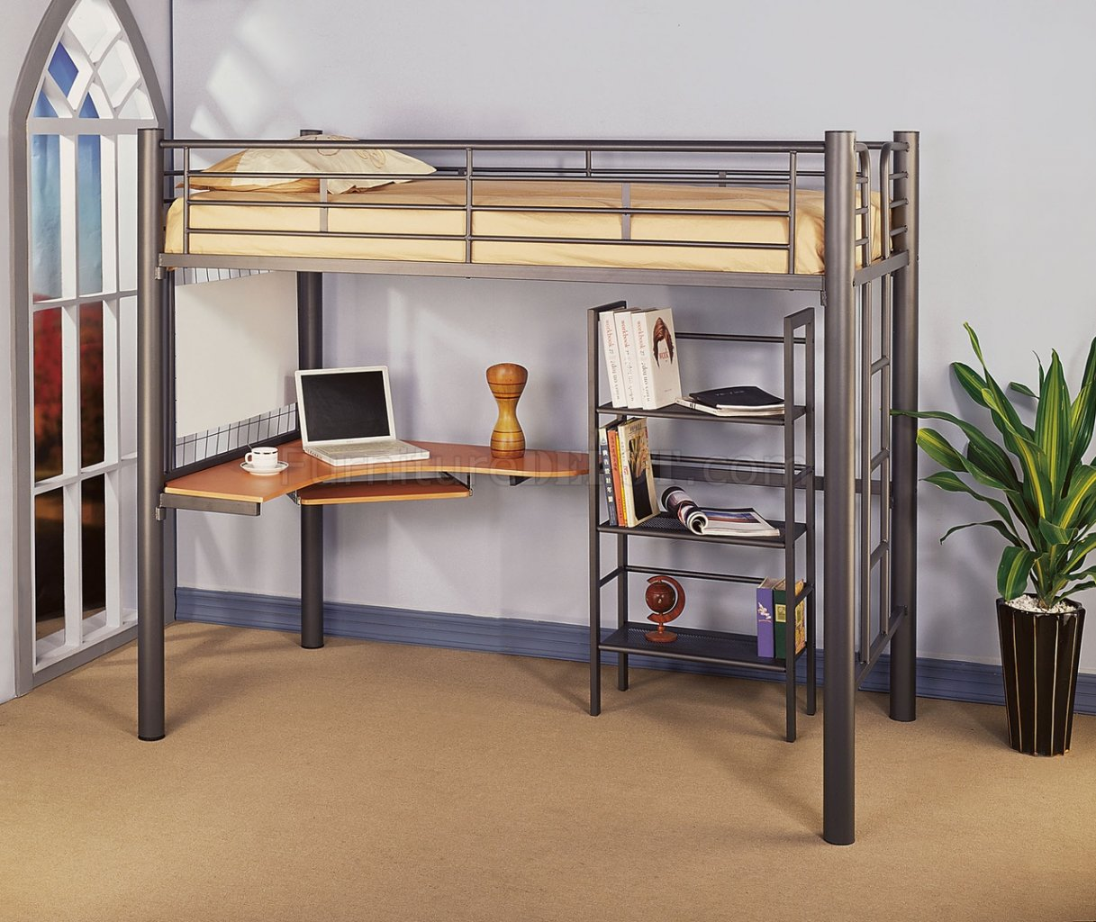 Siver Metal Contemporary Twin Loft Bed w/Desk & Bookcase
