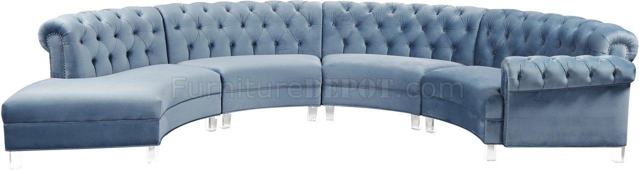Tremendous Anabella Sectional Sofa 697 Sky Blue Velvet Fabric By Meridian Dailytribune Chair Design For Home Dailytribuneorg
