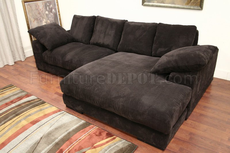 Dark Brown Ribbed Velvety Microfiber Modern Sectional Sofa